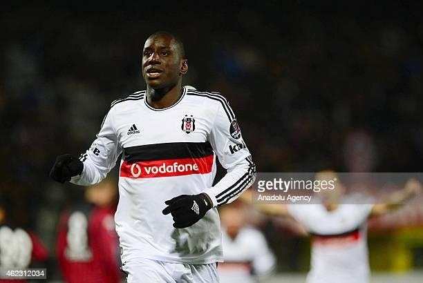 Demba Ba of Besiktas celebrates after scoring a goal during the Turkish Super Toto Super League soccer match between Genclerbirligi and Besiktas at...
