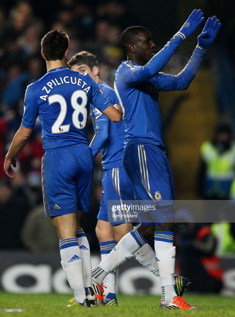 <a gi-track='captionPersonalityLinkClicked' href=/galleries/search?phrase=Demba+Ba&family=editorial&specificpeople=4510297 ng-click='$event.stopPropagation()'>Demba Ba</a> of Chelsea celebrates after scoring the opening goal of the game during the Barclays Premier League match between Chelsea and Southampton at Stamford Bridge on January 16, 2013 in London, England.
