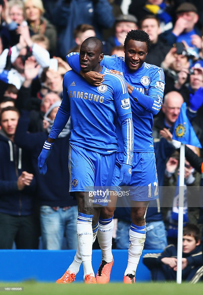 <a gi-track='captionPersonalityLinkClicked' href=/galleries/search?phrase=Demba+Ba&family=editorial&specificpeople=4510297 ng-click='$event.stopPropagation()'>Demba Ba</a> (L) of Chelsea celebrates his goal with team mate Mikel during the FA Cup with Budweiser Sixth Round Replay match between Chelsea and Manchester United at Stamford Bridge on April 1, 2013 in London, England.