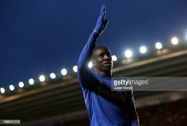 Demba Ba of Chelsea celebrates scoring his first and his teams fourth goal during the FA Cup Third Round match between Southampton and Chelsea at St...