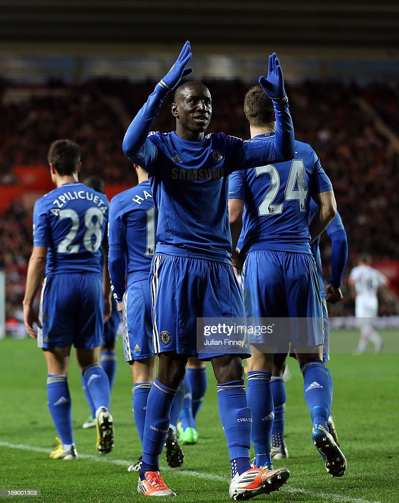 <a gi-track='captionPersonalityLinkClicked' href=/galleries/search?phrase=Demba+Ba&family=editorial&specificpeople=4510297 ng-click='$event.stopPropagation()'>Demba Ba</a> of Chelsea celebrates scoring his first and his teams fourth goal during the FA Cup Third Round match between Southampton and Chelsea at St Mary's Stadium on January 5, 2013 in Southampton, England.
