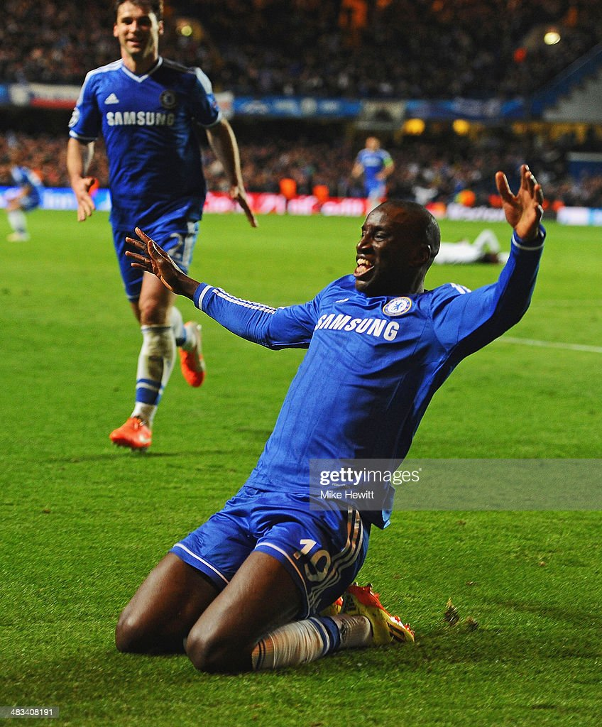 <a gi-track='captionPersonalityLinkClicked' href=/galleries/search?phrase=Demba+Ba&family=editorial&specificpeople=4510297 ng-click='$event.stopPropagation()'>Demba Ba</a> of Chelsea celebrates scoring their second goal during the UEFA Champions League Quarter Final second leg match between Chelsea and Paris Saint-Germain FC at Stamford Bridge on April 8, 2014 in London, England.