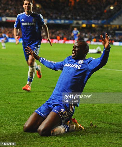 Demba Ba of Chelsea celebrates scoring their second goal during the UEFA Champions League Quarter Final second leg match between Chelsea and Paris...