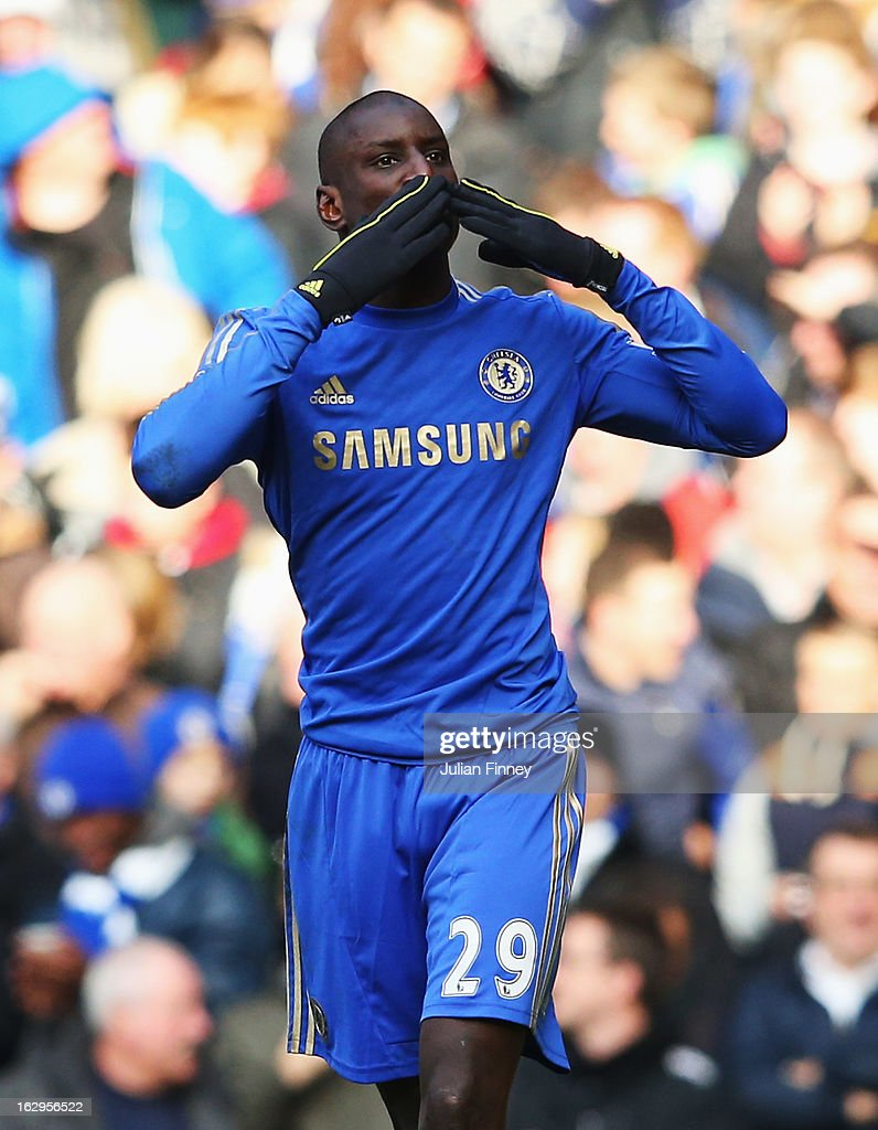 Demba Ba of Chelsea celebrates the opening goal during the Barclays Premier League match between Chelsea and West Bromwich Albion at Stamford Bridge on March 2, 2013 in London, England.