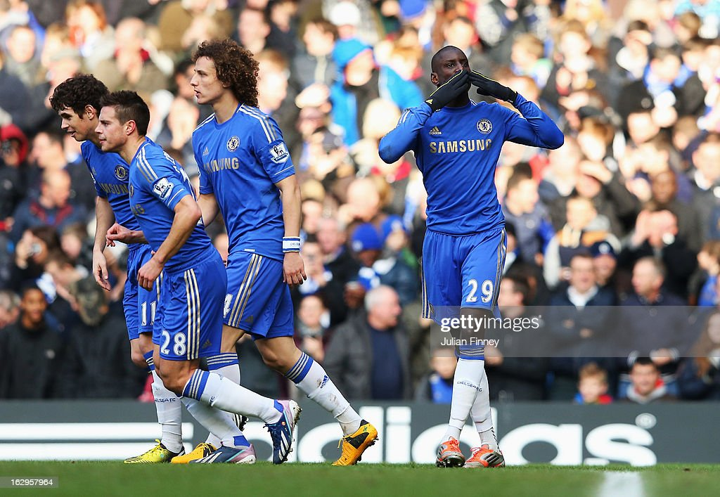 <a gi-track='captionPersonalityLinkClicked' href=/galleries/search?phrase=Demba+Ba&family=editorial&specificpeople=4510297 ng-click='$event.stopPropagation()'>Demba Ba</a> (R) of Chelsea celebrates the opening goal during the Barclays Premier League match between Chelsea and West Bromwich Albion at Stamford Bridge on March 2, 2013 in London, England.