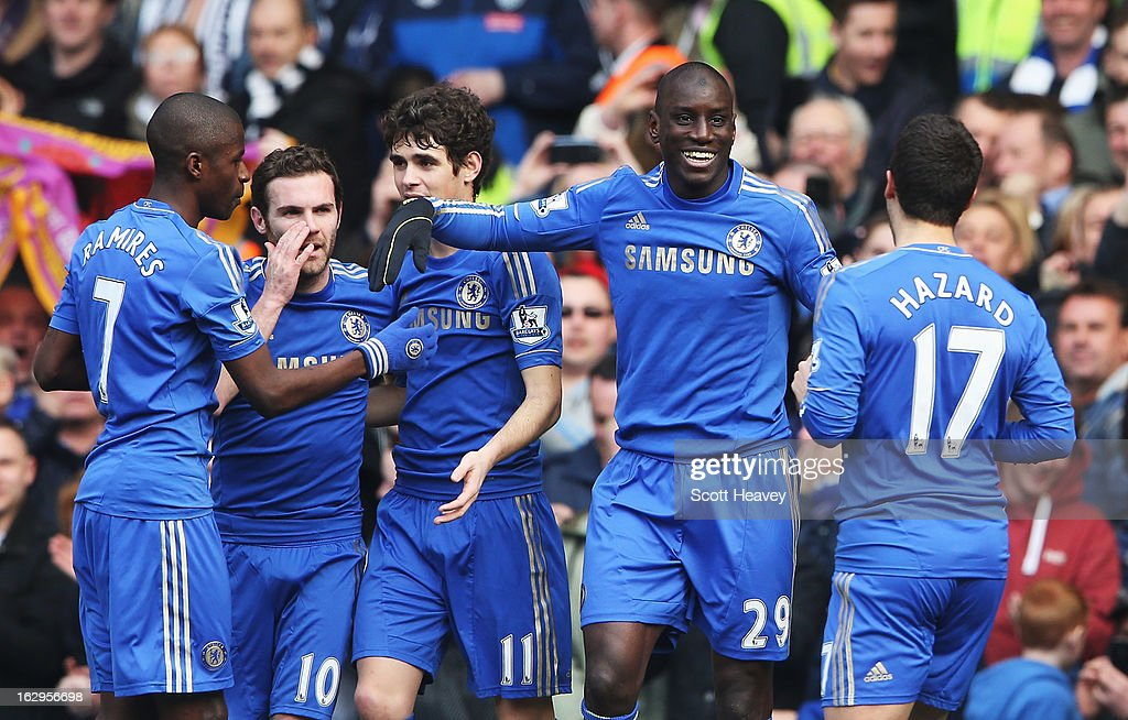 <a gi-track='captionPersonalityLinkClicked' href=/galleries/search?phrase=Demba+Ba&family=editorial&specificpeople=4510297 ng-click='$event.stopPropagation()'>Demba Ba</a> (2ndR) of Chelsea celebrates the opening goal with team mates during the Barclays Premier League match between Chelsea and West Bromwich Albion at Stamford Bridge on March 2, 2013 in London, England.