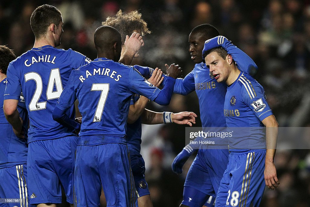 <a gi-track='captionPersonalityLinkClicked' href=/galleries/search?phrase=Demba+Ba&family=editorial&specificpeople=4510297 ng-click='$event.stopPropagation()'>Demba Ba</a> of Chelsea (second right) celebrates with team mates after scoring the opening goal of the game during the Barclays Premier League match between Chelsea and Southampton at Stamford Bridge on January 16, 2013 in London, England.