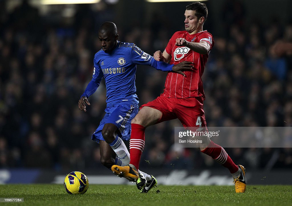 <a gi-track='captionPersonalityLinkClicked' href=/galleries/search?phrase=Demba+Ba&family=editorial&specificpeople=4510297 ng-click='$event.stopPropagation()'>Demba Ba</a> of Chelsea holds off pressure from <a gi-track='captionPersonalityLinkClicked' href=/galleries/search?phrase=Morgan+Schneiderlin&family=editorial&specificpeople=4191360 ng-click='$event.stopPropagation()'>Morgan Schneiderlin</a> of Southampton during the Barclays Premier League match between Chelsea and Southampton at Stamford Bridge on January 16, 2013 in London, England.