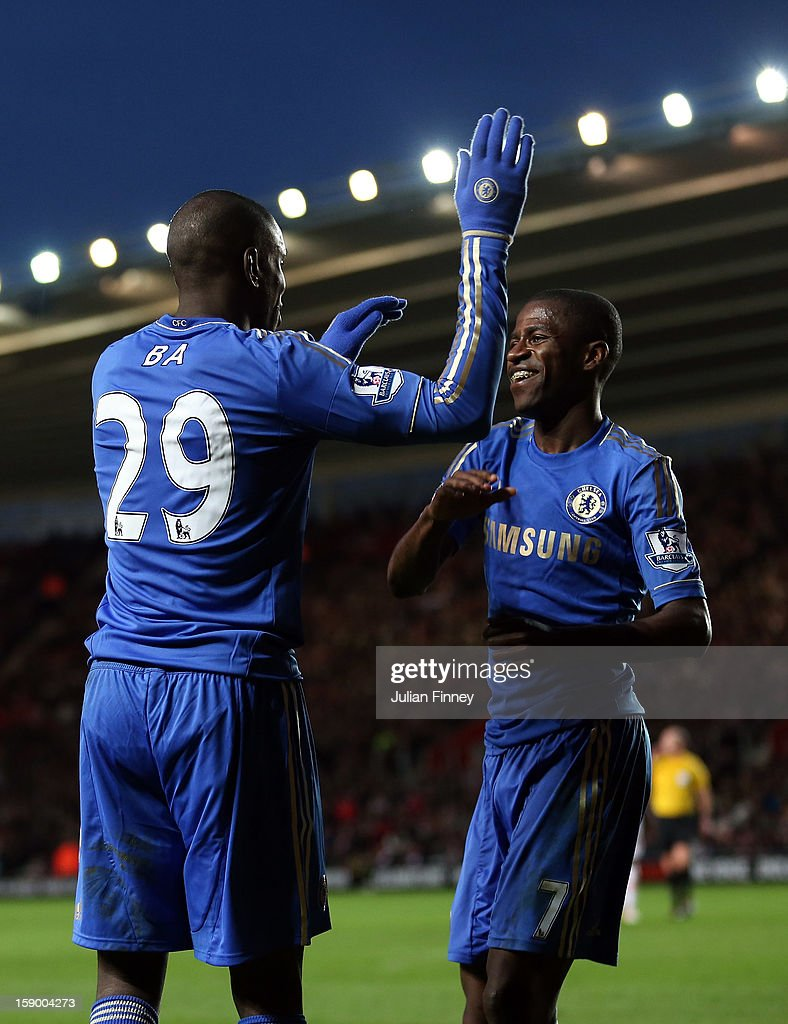 Demba Ba of Chelsea is congratulated by Ramires of Chelsea after he scored to make it 4-1 during the FA Cup Third Round match between Southampton and Chelsea at St Mary's Stadium on January 5, 2013 in Southampton, England.