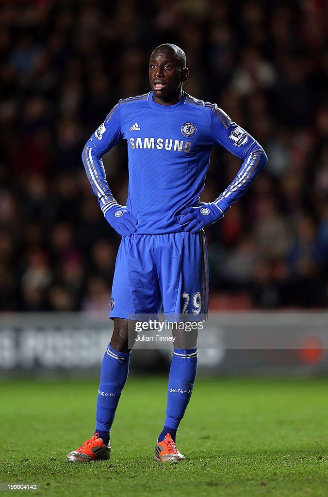 <a gi-track='captionPersonalityLinkClicked' href=/galleries/search?phrase=Demba+Ba&family=editorial&specificpeople=4510297 ng-click='$event.stopPropagation()'>Demba Ba</a> of Chelsea looks on during the FA Cup Third Round match between Southampton and Chelsea at St Mary's Stadium on January 5, 2013 in Southampton, England.