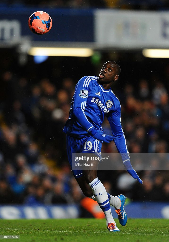 <a gi-track='captionPersonalityLinkClicked' href=/galleries/search?phrase=Demba+Ba&family=editorial&specificpeople=4510297 ng-click='$event.stopPropagation()'>Demba Ba</a> of Chelsea on the ball during the FA Cup Fourth Round between Chelsea and Stoke City at Stamford Bridge on January 26, 2014 in London, England.