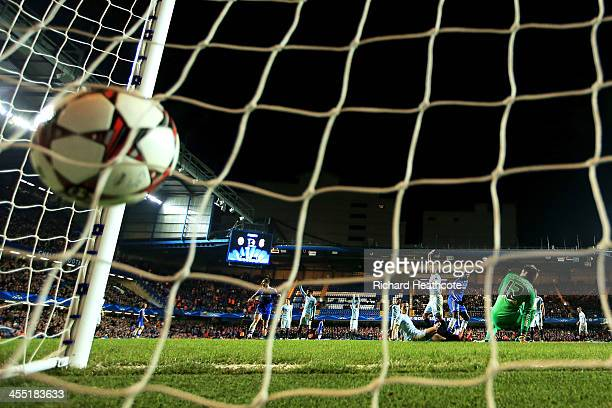 Demba Ba of Chelsea puts the ball in the net for a second half goal but is ruled out for offside during the UEFA Champions League Group E match...