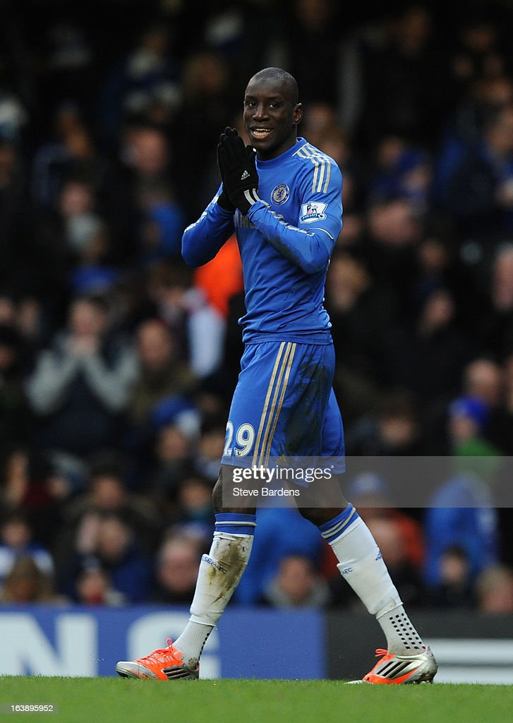 Demba Ba of Chelsea reacts during the Barclays Premier League match between Chelsea and West Ham United at Stamford Bridge on March 17, 2013 in London, England.