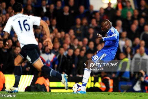 Demba Ba of Chelsea scores his team's third goal during the Barclays Premier League match between Chelsea and Tottenham Hotspur at Stamford Bridge on...