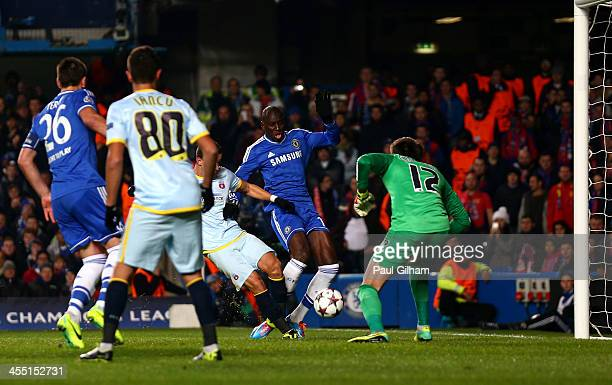 Demba Ba of Chelsea scores the opening goal during the UEFA Champions League Group E match between Chelsea and FC Steaua Bucuresti at Stamford Bridge...