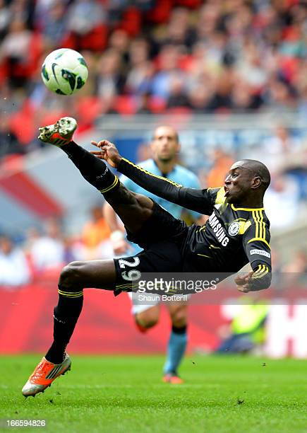 Demba Ba of Chelsea scores their first goal during the FA Cup with Budweiser Semi Final match between Chelsea and Manchester City at Wembley Stadium...