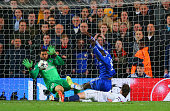 Demba Ba of Chelsea scores their second goal during the UEFA Champions League Quarter Final second leg match between Chelsea and Paris SaintGermain...