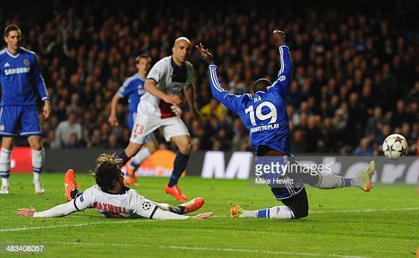 Demba Ba of Chelsea scores their second goal during the UEFA Champions League Quarter Final second leg match between Chelsea and Paris SaintGermain...