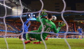 Demba Ba of Chelsea scores their second goal past Salvatore Sirigu of PSG during the UEFA Champions League Quarter Final second leg match between...
