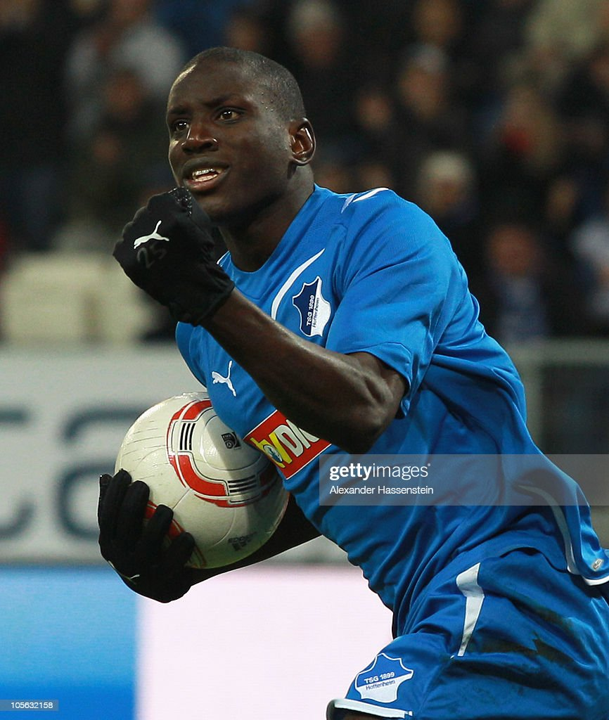 Demba Ba of Hoffenheim celebrates scoring his first team goal during the Bundesliga match between 1899 Hoffenheim and Borussia Moenchengladbach at Rhein-Neckar Arena on October 17, 2010 in Sinsheim, Germany.