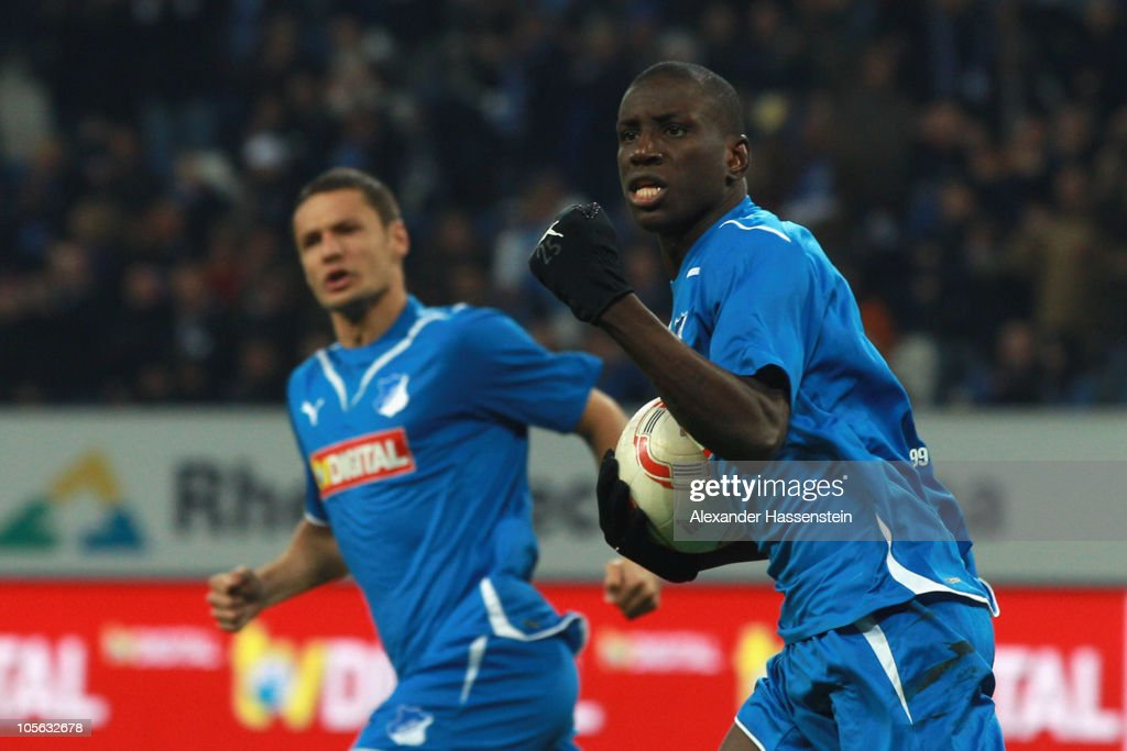 Demba Ba (R) of Hoffenheim celebrates scoring his second team goal with his team mate Sejad Salihovic during the Bundesliga match between 1899 Hoffenheim and Borussia Moenchengladbach at Rhein-Neckar Arena on October 17, 2010 in Sinsheim, Germany.
