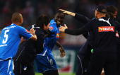 Demba Ba of Hoffenheim is celebrated by his team mates after scoring the 03 goal during the Bundesliga match between 1 FC Koeln and 1899 Hoffenheim...