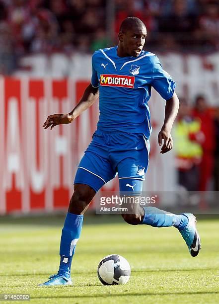 Demba Ba of Hoffenheim runs with the ball during the Bundesliga match between FSV Mainz 05 and 1899 Hoffenheim at the Bruchweg Stadium on October 3...