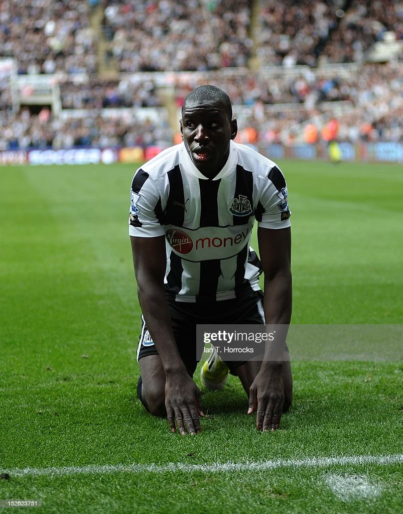 Demba Ba of Newcastle United celebrates scoring the opening goal during the Barclays Premier League match between Newcastle United and Norwich City at Sports Direct Arena on September 23, 2012, in Newcastle upon Tyne, England.