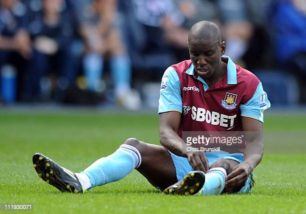Demba Ba of West Ham United reacts during the Barclays Premier League match between Bolton Wanderers and West Ham United at Reebok Stadium on April 9...