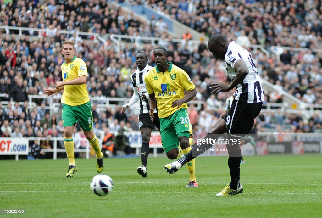 Demba Ba scores the opening goal during the Barclays Premier League match between Newcastle United and Norwich City at Sports Direct Arena on September 23, 2012, in Newcastle upon Tyne, England.