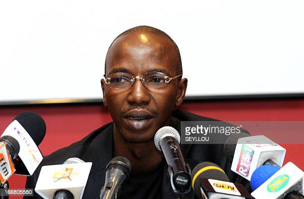 Demba Cire Bathily one of the lawyers of Karim Wade the son of Senegal's former President talks on April 17 2013 during a press conference in Dakar...