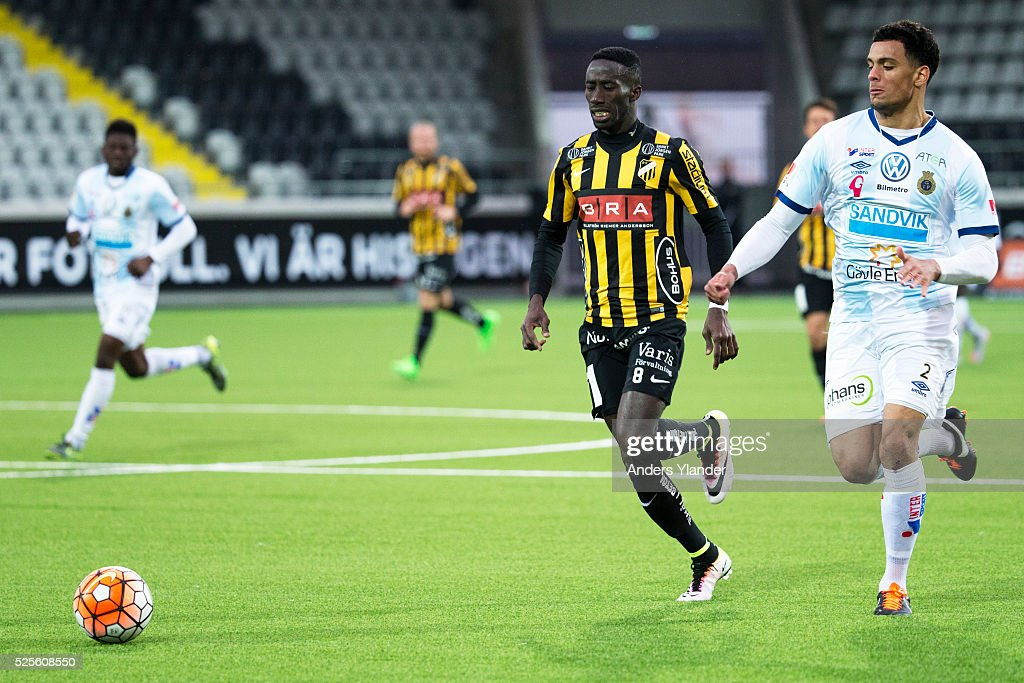 Demba Savage of BK Hacken and Joshua Nadeau of Gefle IF competes for the ball during the Allsvenskan match between BK Hacken and Gefle IF at Bravida Arena on April 28, 2016 in Gothenburg, Sweden.