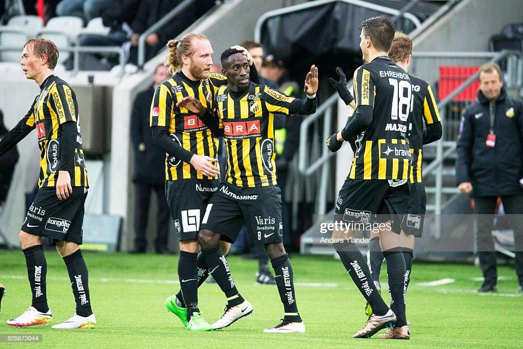 Demba Savage of BK Hacken celebrates his goal (2-1) with teammates during the Allsvenskan match between BK Hacken and Gefle IF at Bravida Arena on April 28, 2016 in Gothenburg, Sweden.