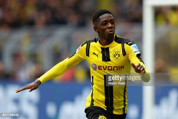 Dembele of Dortmund celebrates after he scores the opening goal during the Bundesliga match between Borussia Dortmund and Bayer 04 Leverkusen at...