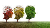 Dementia and mental health recovery treatment and Alzheimer brain memory disease therapy concept as old trees recovering as a neurology or psychology and psychiatry cure metaphor with 3D illustration