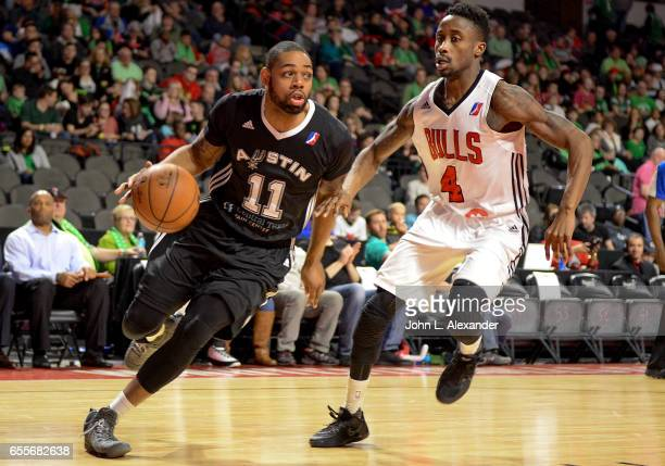 Demetri McCamey of the Austin Spurs drives to the basket against the Windy City Bulls during a NBA DLeague game on March 17 2017 at the Sears Centre...