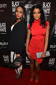 Demetria McKinney and Claudia Jordan attend the 'Black Or White' red carpet screening at Regal Atlantic Station on January 22 2015 in Atlanta Georgia