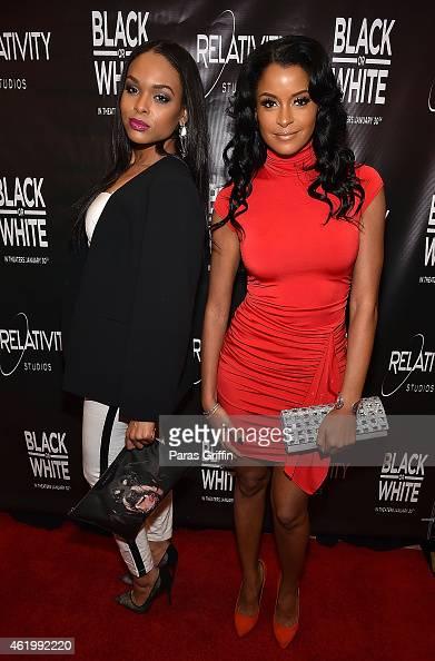 Demetria McKinney and Claudia Jordan attend the 'Black Or White' red carpet screening at Regal Atlantic Station on January 22 2015 in Atlanta Georgia