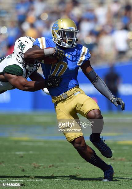 Demetric Felton runs the ball during a college football game between the Hawai'i Rainbow Warriors and the UCLA Bruins on September 09 2017 at the...
