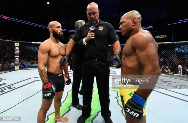 Demetrious Johnson and Wilson Reis of Brazil face off in their UFC flyweight fight during the UFC Fight Night event at Sprint Center on April 15 2017...