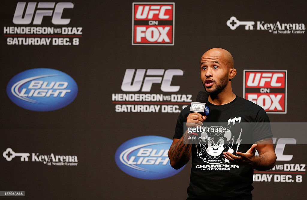 Demetrious Johnson interacts with fans during a Q&A session before the official UFC on FOX weigh in on December 7, 2012 at Key Arena in Seattle, Washington.