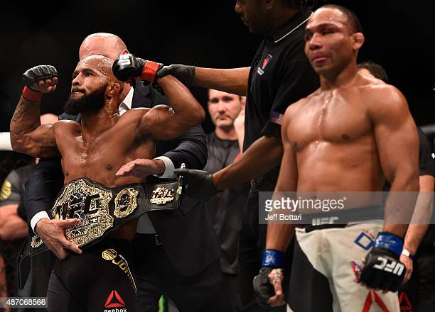 Demetrious Johnson reacts to his victory over John Dodson in their flyweight championship bout during the UFC 191 event inside MGM Grand Garden Arena...