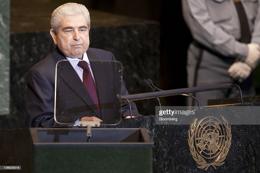 Demetris Christofias, president of Cyprus, speaks during the 66th annual United Nations General Assembly at the UN in New York, U.S., on Thursday, Sept. 22, 2011. The General Debate theme is 'The role of mediation in the settlement of disputes by peaceful means.' Photographer: Andrew Harrer/Bloomberg via Getty Images