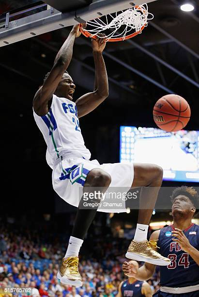 Demetris Morant of the Florida Gulf Coast Eagles dunks the ball against the Fairleigh Dickinson Knights during the first round of the 2016 NCAA Men's...