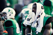 Demetrius Evans of the Marshall Thundering Herd reacts late in the game against the Western Kentucky Hilltoppers at Joan C Edwards Stadium on...