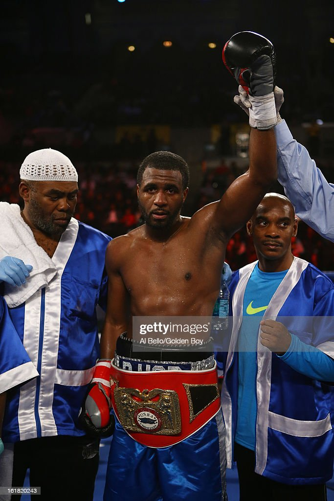 Demetrius Hopkins celebrates his sixth round TKO of Charles Whittaker during their USBA Junior Middleweight title fight at Atlantic City Boardwalk Hall on February 16, 2013 in Atlantic City, New Jersey.