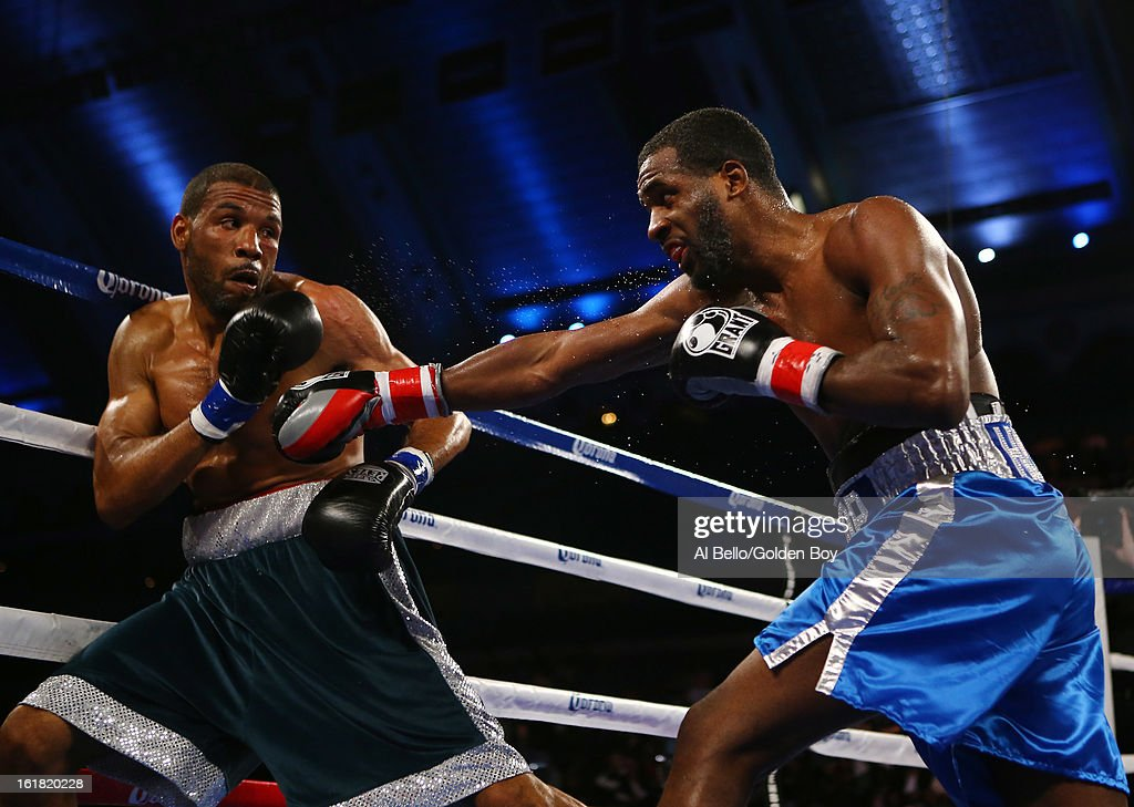 Demetrius Hopkins punches Charles Whittaker during their USBA Junior Middleweight title fight at Atlantic City Boardwalk Hall on February 16, 2013 in Atlantic City, New Jersey.