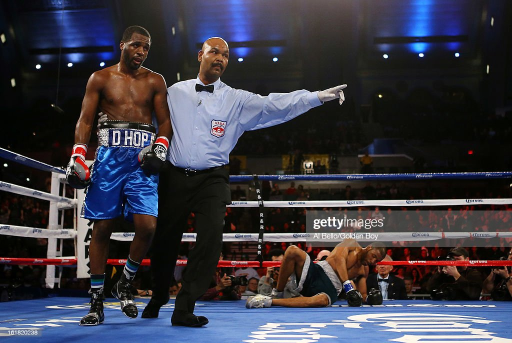 Demetrius Hopkinsknock down Charles Whittaker during their USBA Junior Middleweight title fight at Atlantic City Boardwalk Hall on February 16, 2013 in Atlantic City, New Jersey.