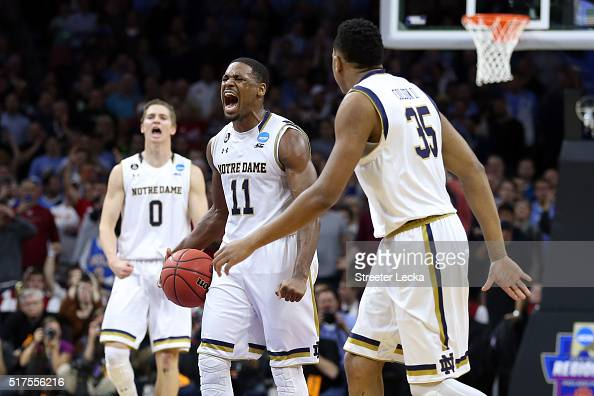 Demetrius Jackson of the Notre Dame Fighting Irish celebrates a basket late in the second half against the Wisconsin Badgers during the 2016 NCAA...