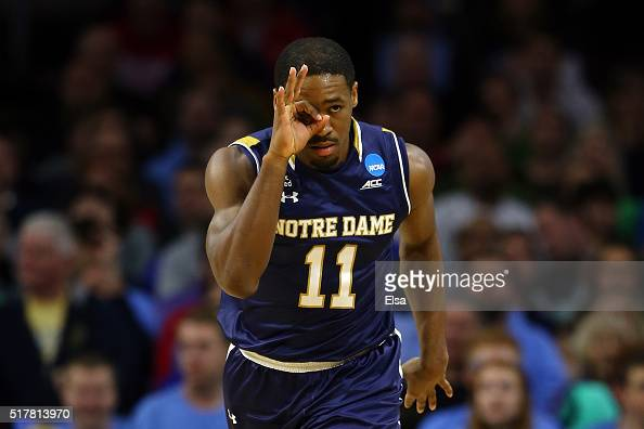 Demetrius Jackson of the Notre Dame Fighting Irish celebrates a three pointer in the first half against the North Carolina Tar Heels during the 2016...